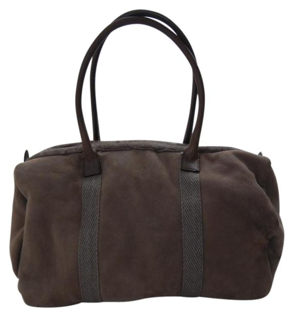 Item - Shearling Fur Slouchy Purse Brown Suede Leather Satchel