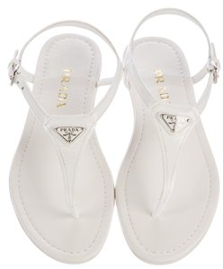 Prada Silver Hardware Logo Embellished Patent Leather Ankle Strap White, Silver Sandals