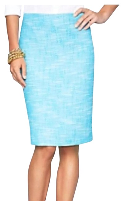 Item - Turquoise Textured Fuschia Tweed Straight/Pencil Lined Skirt Size 12 (L, 32, 33)