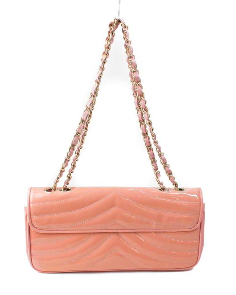 569c282e6fca Chanel Classic Flap Rare Salmon Quilted East/West Pink Patent ...