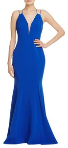 LM by Mignon Plunging Mesh Inset Tie Back Prom Evening Dress