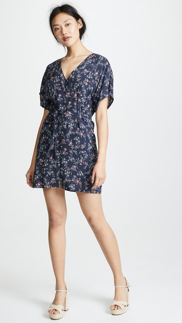 Item - Dark Ink Blue Cherelle Floral Print Button Down Mini Short Casual Dress Size 6 (S)