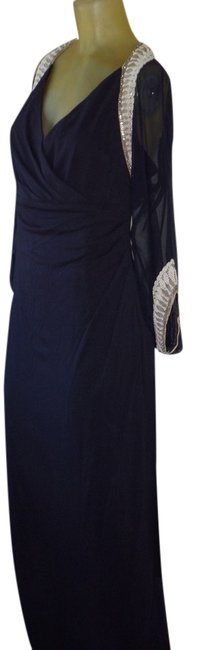 Item - Navy Blue Silk Bead Embellishment Gown Formal Bridesmaid/Mob Dress Size 8 (M)