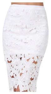Other Pencil Midi Lace Slimming Spring Skirt White