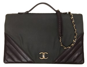 Chanel Double Boy Backpack Tote Caviar Brown & Green Messenger Bag