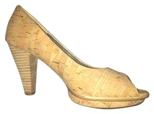 Erosoft by Sfft Platform Open Toe cork and gold Pumps
