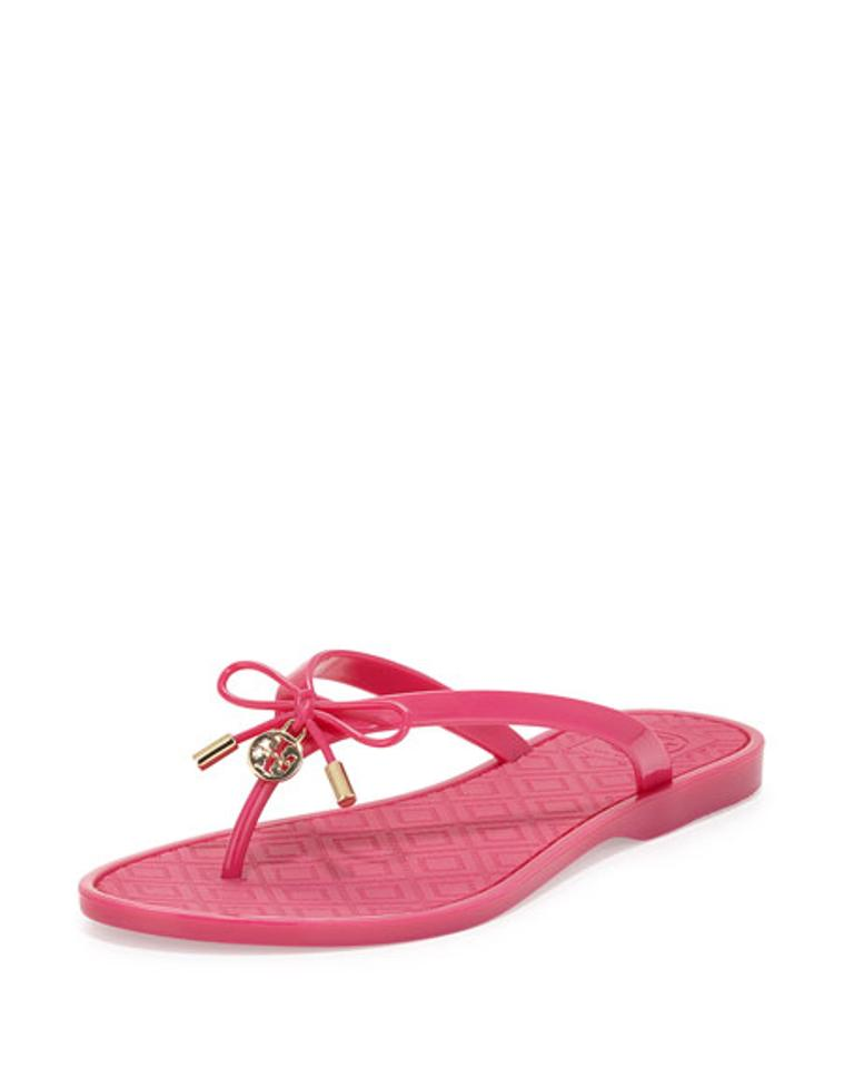 Tory Burch Saucy Pink New Flops Jelly Bow Flip Flop Flops New Sandals 60e822