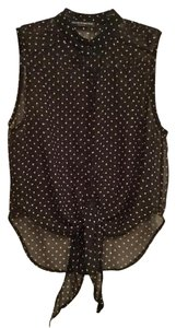Brandy Melville Sleeveless Sheer Button Down Hearts Top Black and Tan