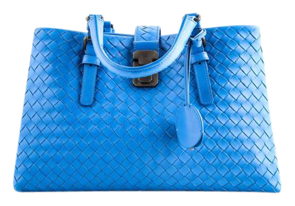 Bottega Veneta Roma Medium Intrecciato Leather Bluette Tote - Tradesy 67a9c5001307f