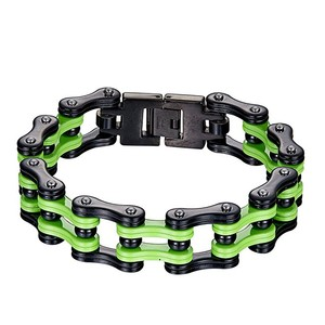Master Of Bling Motorcycle Link Chain Bracelet Green With Black PVD Custom Designer