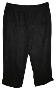 Larry Levine Fully Lined Linen And Rayon Capri/Cropped Pants Black on Black Embroidery