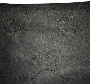 Larry Levine Fully Lined Linen And Rayon Linen Capri/Cropped Pants Black on Black Embroidery