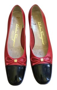 Salvatore Ferragamo Leather Chunky Heels Chunky Heels Black & Red Pumps