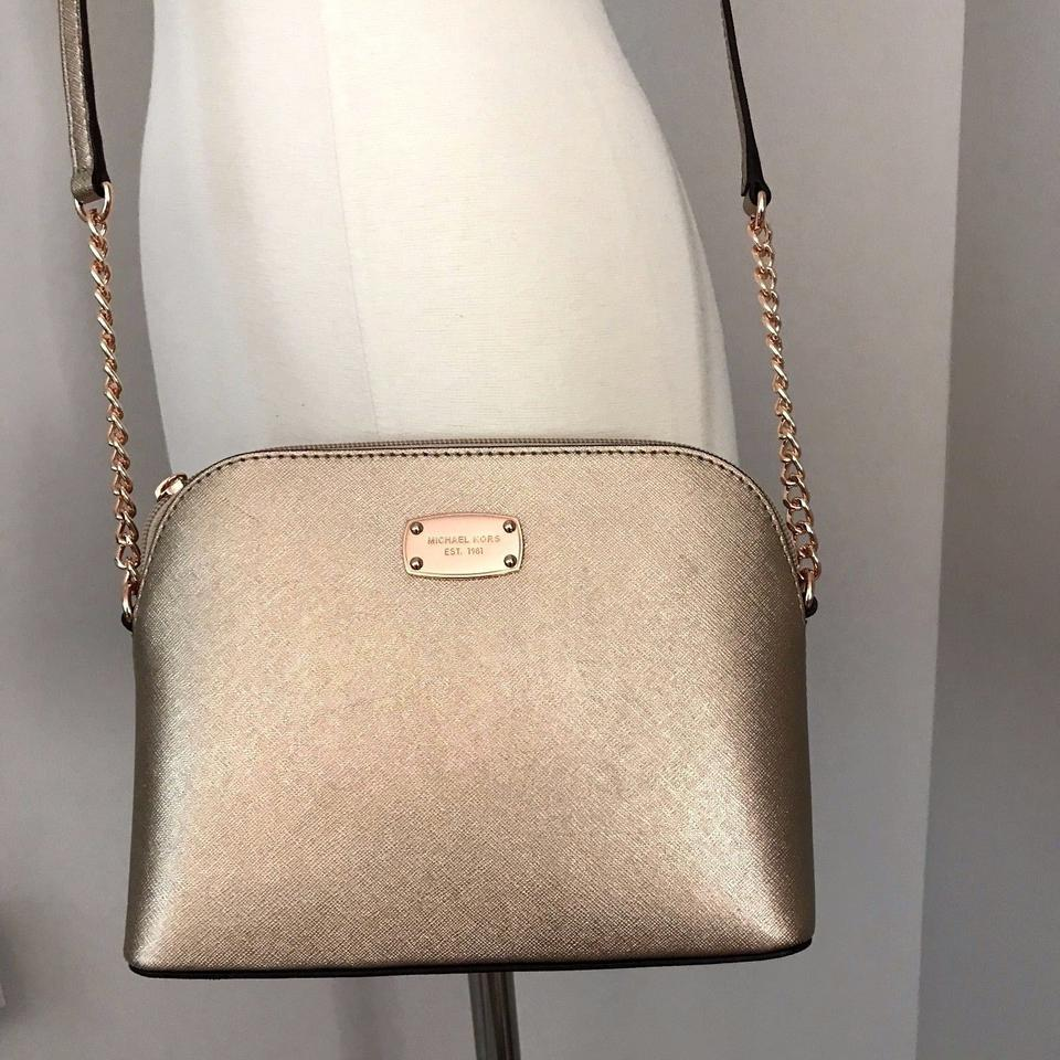 8d8039a1342463 Michael Kors Cindy Large Dome Brown Purse Rose Gold Pvc Leather ...