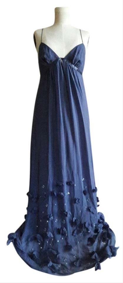 Rebecca Taylor Cornflower Silk Rosette Gown with Clear Stones Long ...