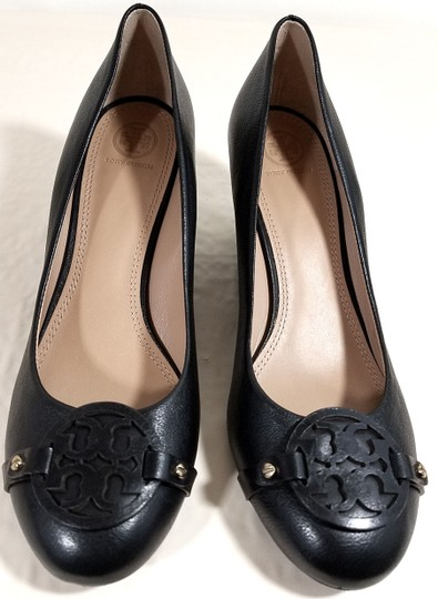 a6e4668705dc7 Tory Burch Black Leather  mini Miller  Pump Grain Wedges Size US 10 ...