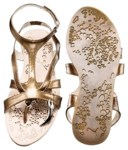 Alexander McQueen Leather Patent Leather Beige/Copper Sandals