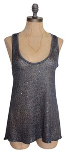 Anthropologie Sequin Sparkled Sage Evening Top GRAY