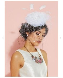 Modcloth White Birdcage Plume Perfection Fascinator Bridal Veil