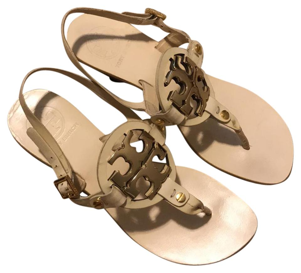 053711a0402c Tory Burch Cream With Logo Sandals. Size  US 6 Regular (M ...
