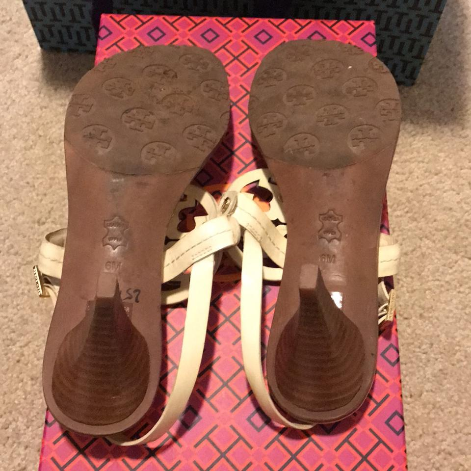 5bcc5970e Tory Burch Cream With Logo Sandals. Size  US 6 Regular (M ...