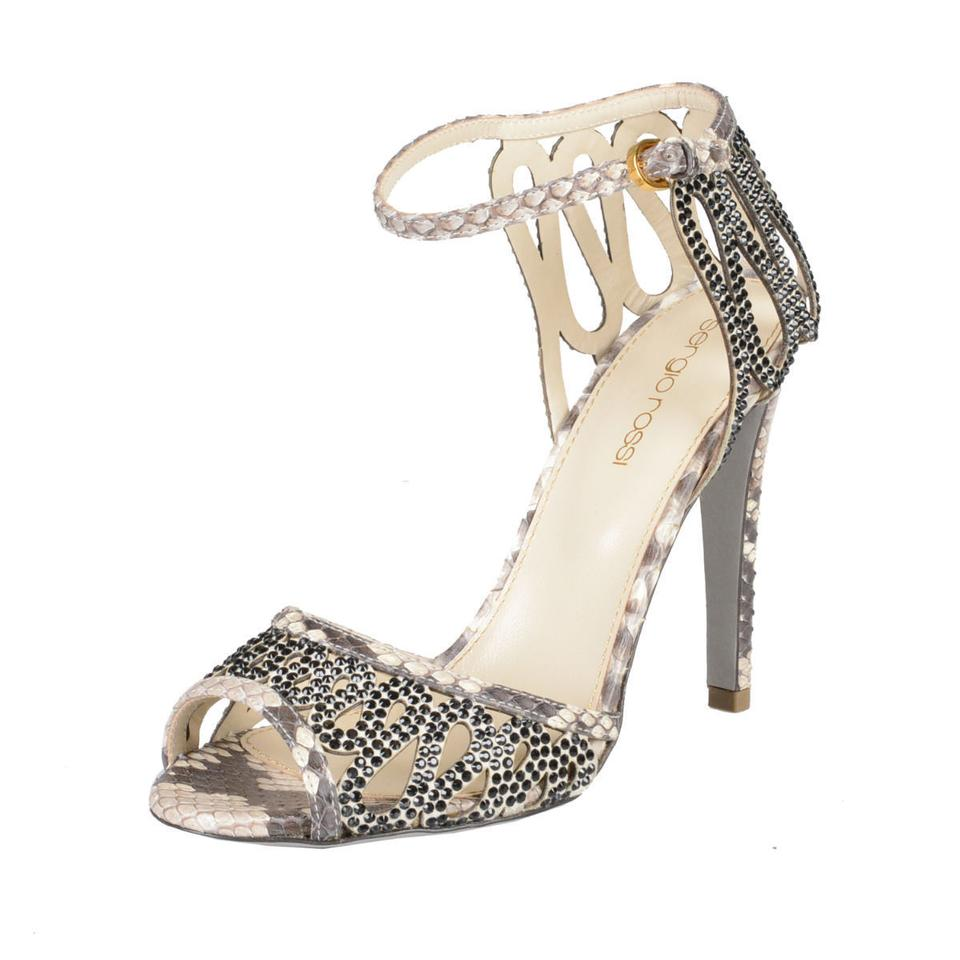 Sergio Ankle Rossi Multi-color Python Skin Ankle Sergio Strap High Sandals d743be