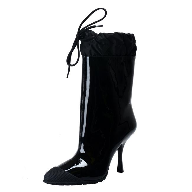 black patent high heel ankle boots