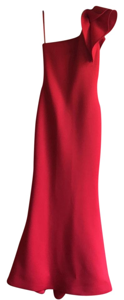 Jovani Red Pleated One Shoulder Column Gown Long Formal Dress Size 0 ...