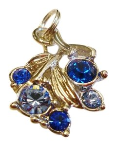 St. John ZIPPER PULL CHARM ST. JOHN SIGN SILVER WITH BLUE SWAROVSKI CRYSTALS
