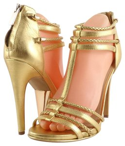 Dolce Vita Leather Braid Strappy Back Zipper Gold Sandals
