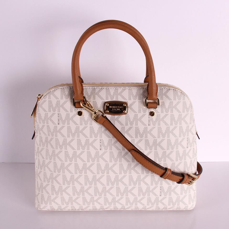 b57377ee6755 Michael Kors Cindy Large Dome Satchel Logo Adj Strap Vanilla Leather Cross  Body Bag