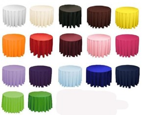 """Your Choice 10 120"""" Round Polyester Color Tablecloth"""