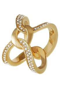 Michael Kors size 6 NWT GOLD PLATED INTERLOCKING BRILLIANCE RING MKJ58557106