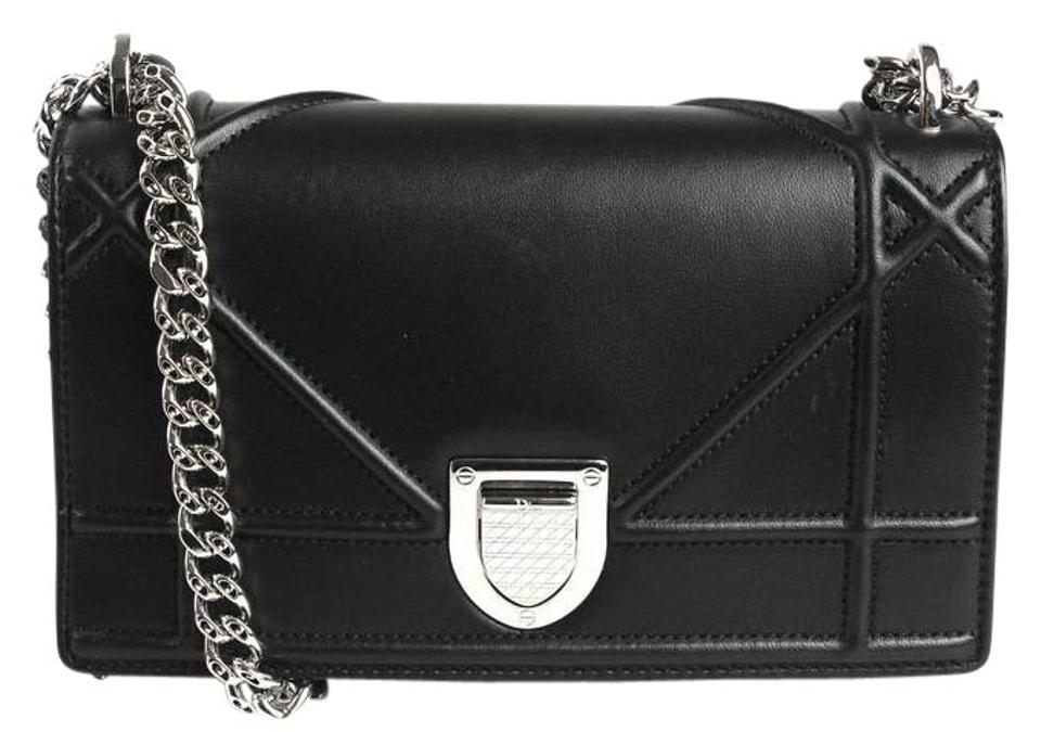 0f85453febc6 Dior Mini Diorama Black Lambskin Leather Cross Body Bag - Tradesy