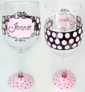 Pink And Black Polka Dot Personalized Wine Glass