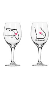 Best Friend Bridesmaid Wine Glass State Love
