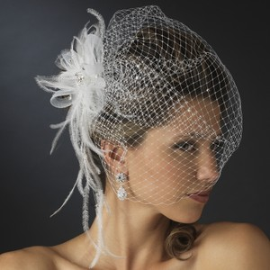 Elegance by Carbonneau Ivory Birdcage With Rhinestones & Feathers Bridal Veil