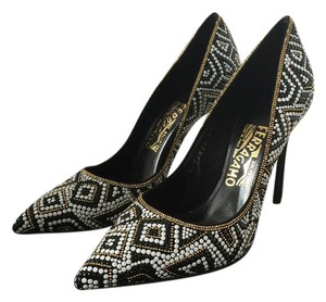 Salvatore Ferragamo Art Deco Saks Suede Nero Black, White, Gold Pumps