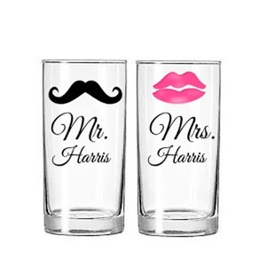Mr. And Mrs. Mustache And Lips Tall Cooler Glass