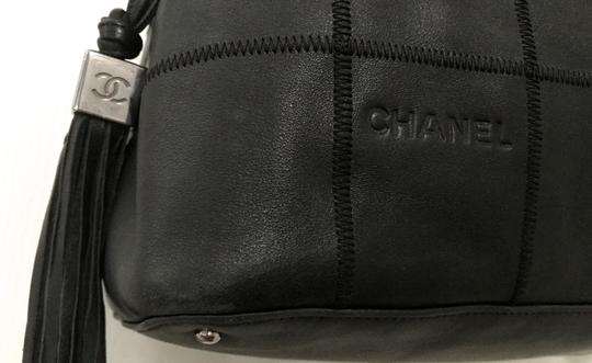 Chanel Silver Diamond Leather Shoulder Bag