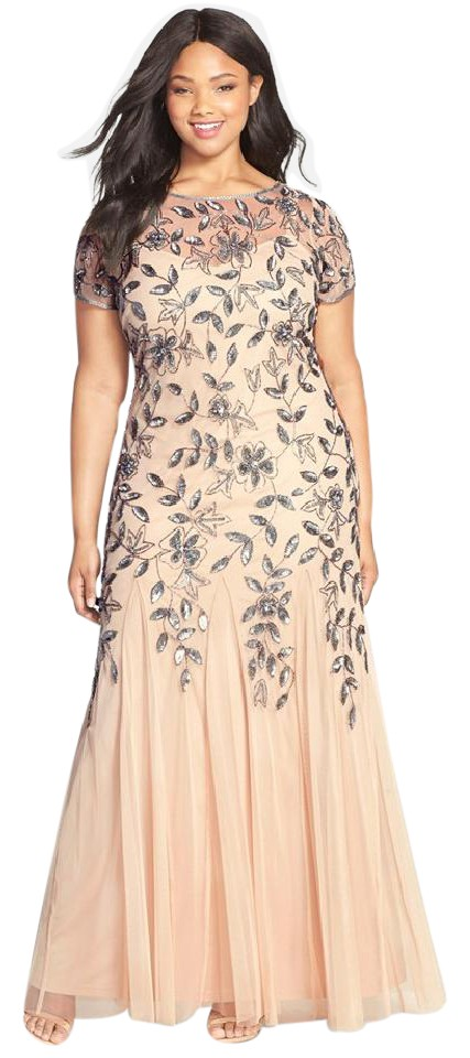 9def2d1c5571 Adrianna Papell Taupe/Pink Womens Taupe/Pink Beaded Trumpet Gown Plus 14w  Formal Dress