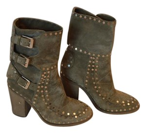 Laurence Dacade Suede Studded Chunky Heel Italian Ankle Gray/Green Boots