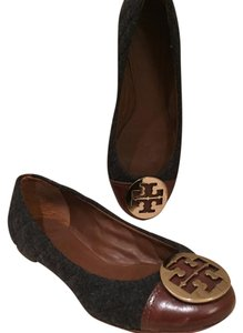 Tory Burch Grey and Brown Flats