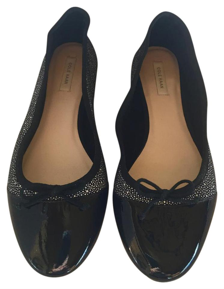 41074a891d Cole Haan Ballet Statement Piece Business Comfy Black/White Print Patent  Flats Image 0 ...