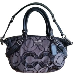 Coach Rare Madison Op Brass Hardware Satchel in grays and black