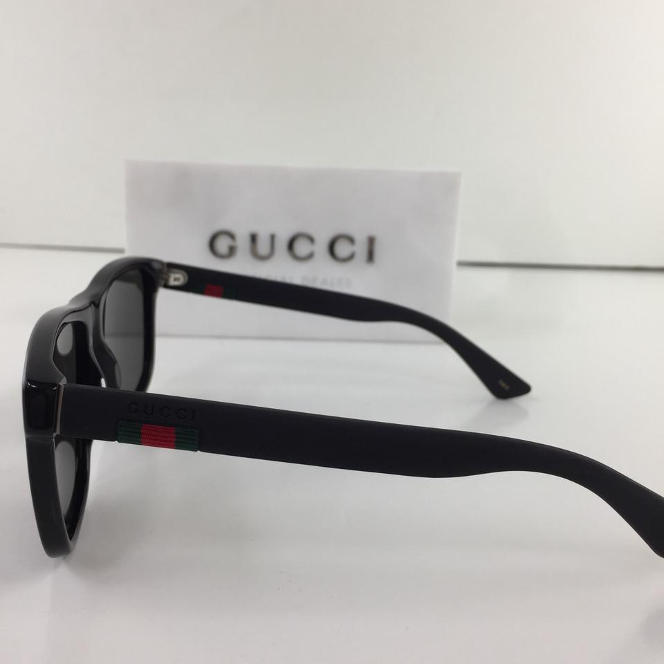 0511bda68 Gucci Authentic GG0010S 001 Black Grey Ray Green Logo On Temple Sunglasses  Image 10. 1234567891011
