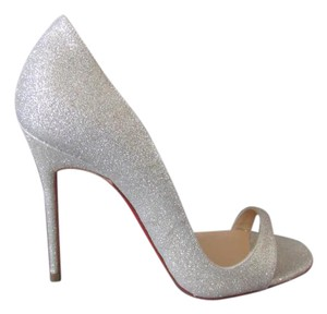 6e7024bf16fd Christian Louboutin Open Toe Light Silver Red Sole Wedding Sandals Ivory  Pumps