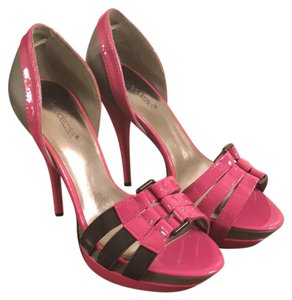 ShoeDazzle Hot Pink and Gray Platforms