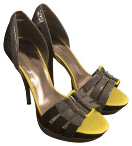 ShoeDazzle Neon Yellow and Gray Platforms