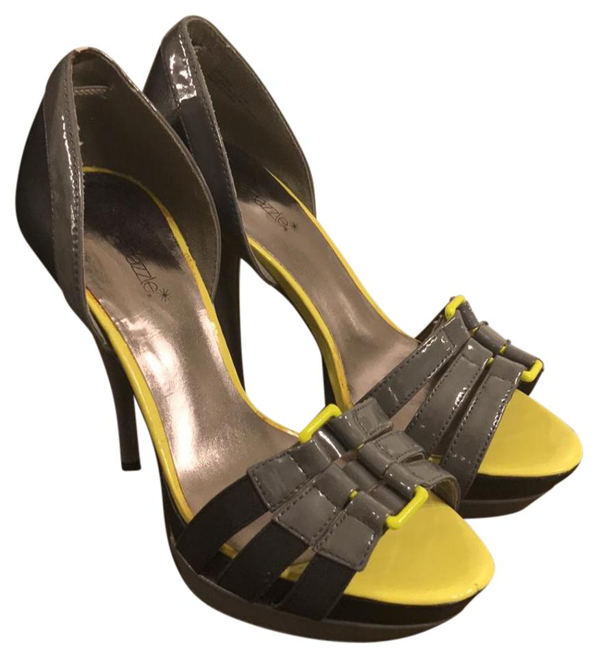 76ba2485bb7 ShoeDazzle Neon Yellow and Gray Trouble Platforms Size US 8.5 ...